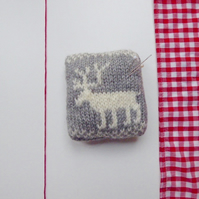 Reindeer pincushion, knitted pincushion, Fair Isle pincushion, pin tidy,