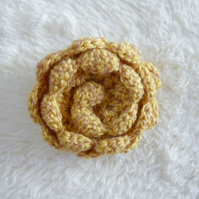 Crochet flower brooch, cabbage rose brooch