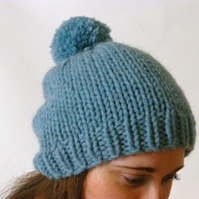 Blue knitted beanie, chunky knit beanie, pompom beanie, knitted slouchy hat,