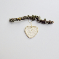 Crochet heart, Christmas heart decoration, tree decoration, cream and gold heart