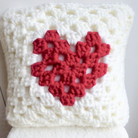 crochet heart cushion cover, Valentine cushion cover, removable cushion cover