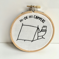Camping embroidery hoop, art for campers, textile art