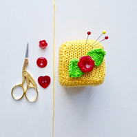 Pincushion, knitted pincushion, sugar cube pincushion