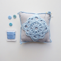 Pincushion, Crochet pincushion, lace doily pin tidy,