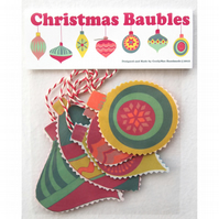 Fabric Christmas Baubles - Pack of 5