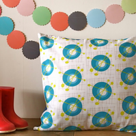 Turquoise and Mustard Atom Cushion