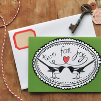 Two For Joy Card - birthday congratulations wedding engagement baby