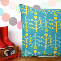 Yellow and Green Seedheads Cushion
