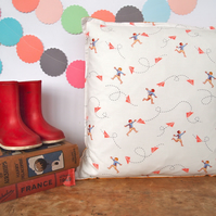 Orange Paper Plane Cushion