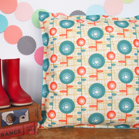 Mid Century Flower Blob Cushion - handmade retro funky nursery vintage quirky