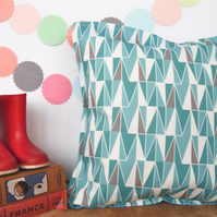 Triangle Blues Cushion - handmade retro funky nursery vintage quirky fun