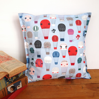 Happy Hot Air Balloons Cushion - handmade retro funky nursery vintage quirky fun