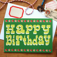 Happy Birthday Card - Retro vintage circus fairground typography fun quirky
