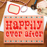 Happily Ever After Card - Retro vintage circus wedding typography fun quirky
