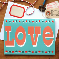 Love Card - Retro vintage circus wedding valentine typography fun quirky