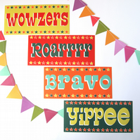 Pack of 4 Occasion Cards - Retro vintage circus typography fun quirky funky