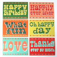 Pack of 6 Circus Themed Occasion Cards