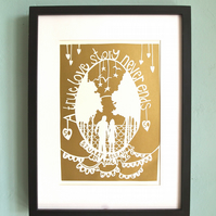 Personalised Bespoke Papercut A4 size - anniversary wedding custom christening
