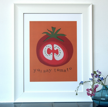 You Say Tomato Papercut - A3 print - wedding, baby, congratulations, anniversary