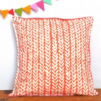Coral Knitting Cushion - handmade retro funky vintage nursery quirky fun
