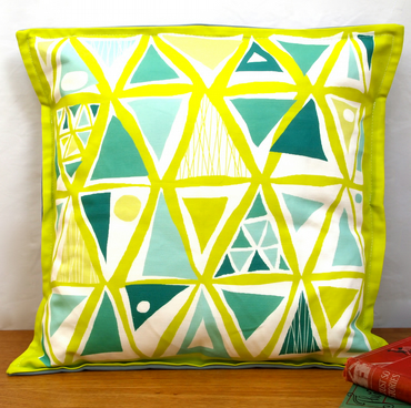 Festival Triangles Cushion - Nursery Quirky Fun Vintage Retro Baby