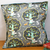 Grey Forest Cushion - handmade retro funky vintage nursery quirky fun