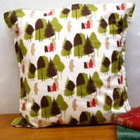 Large Bears in the Wood Cushion -  retro funky vintage nursery quirky fun