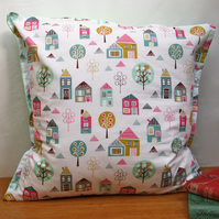 Large Petite Street Houses Cushion -  retro funky vintage nursery quirky fun