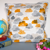 Mustard Clowds Cushion Cover - handmade retro nursery vintage quirky