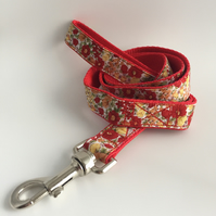 yellow and red floral dog lead