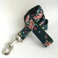 forest green floral dog lead
