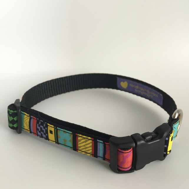 colourful aztec dog collar - size 2
