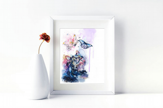Cat Print. Cat Wall Art Watercolour Cat with Butterflies. Cat Lover Gift.