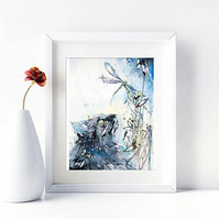 Cat with DragonFlies Wall Art. Watercolour Cat Print. Home Decor Gift