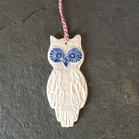 Porcelain white owl decoration, wedding favour, The Porcelain Menagerie