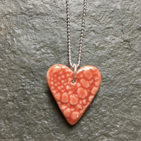 Love Heart, red glazed porcelain, sterling silver ball chain, The Jewellery Boat