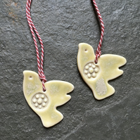 2 Lovebirds porcelain christmas decorations, ivory, wedding, The Jewellery Boat