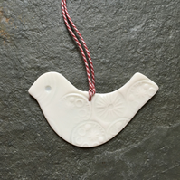 Lovebird, hanging decoration, white porcelain wedding favour, valentines, Xmas