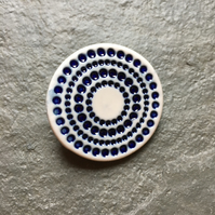 Spotty circles brooch, blue green glaze, white, porcelain, contemporary