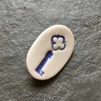 Minimalist porcelain key brooch, blue, white - keeper of my heart - love token