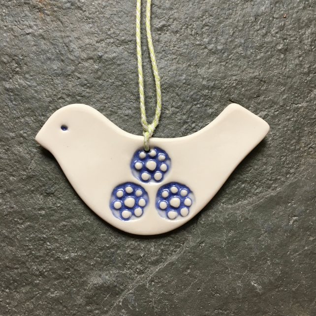 Porcelain dove in white and blue - Christmas tree decoration, love token