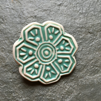 Porcelain white and aquamarine flower brooc