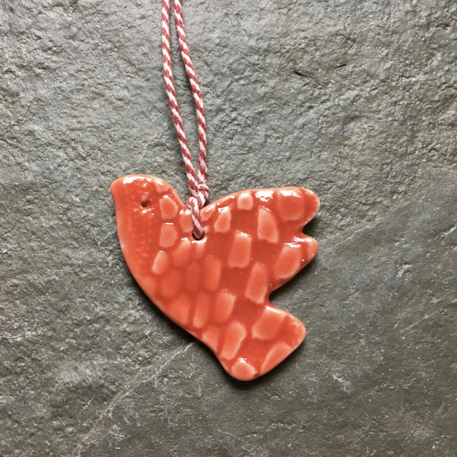 Tiny porcelain dove strawberry red glaze - love token, Christmas tree decoration