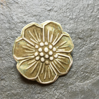 Porcelain Flower Brooch in olive green and mustard