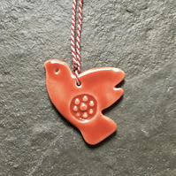 Valentines Day Red porcelain dove, wedding favour, decoration,The Jewellery Boat