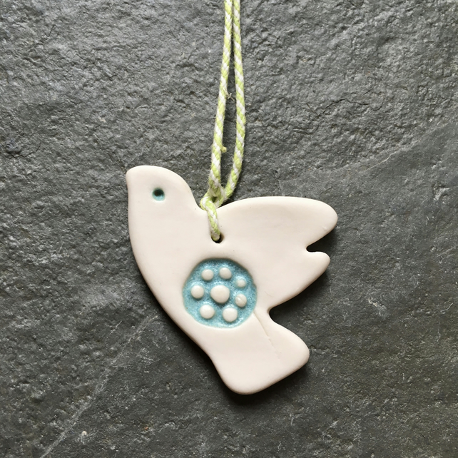 Dove of peace, porcelain, white, aquamarine, wedding favour, Valentines, xmas