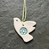 Porcelain peace dove,white,aqua,wedding, xmas decoration, The Jewellery Boat