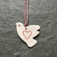 Lovebird, porcelain, red, white, hanging, wedding favour, The Jewellery Boat