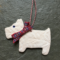 White Porcelain Scottie Dog Christmas tree decoration,tartan,The Jewellery Boat