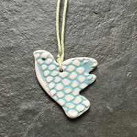 Porcelain aqua white love bird,christmas,wedding,decoration,The Jewellery Boat